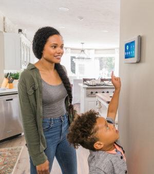 Home security panel in family home